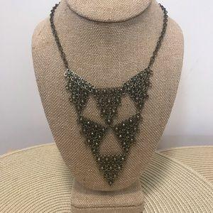 V-neck brushed gold chain bib necklace